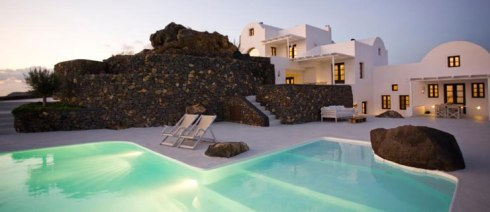exterior swimming pool of the Beautiful villa in Santorini Greece