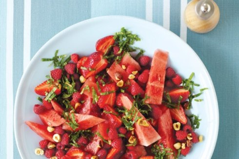 healthy salad with watermelon and strawberries
