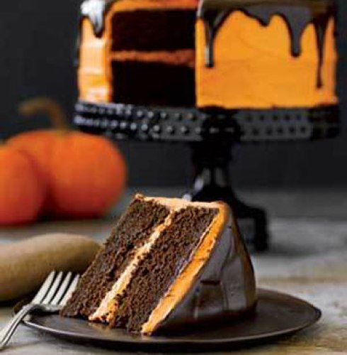 Halloween chocolate pumkin cake recipe ideas