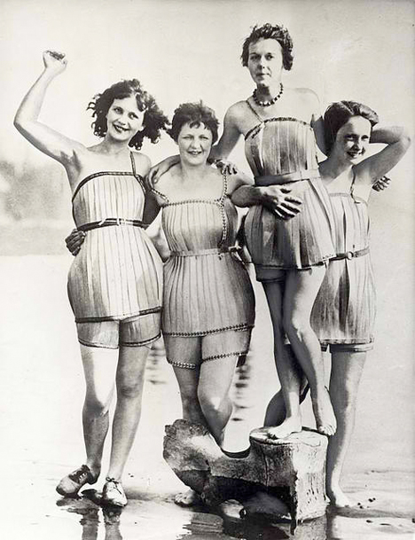 strange old timey inventions, wooden swimsuits