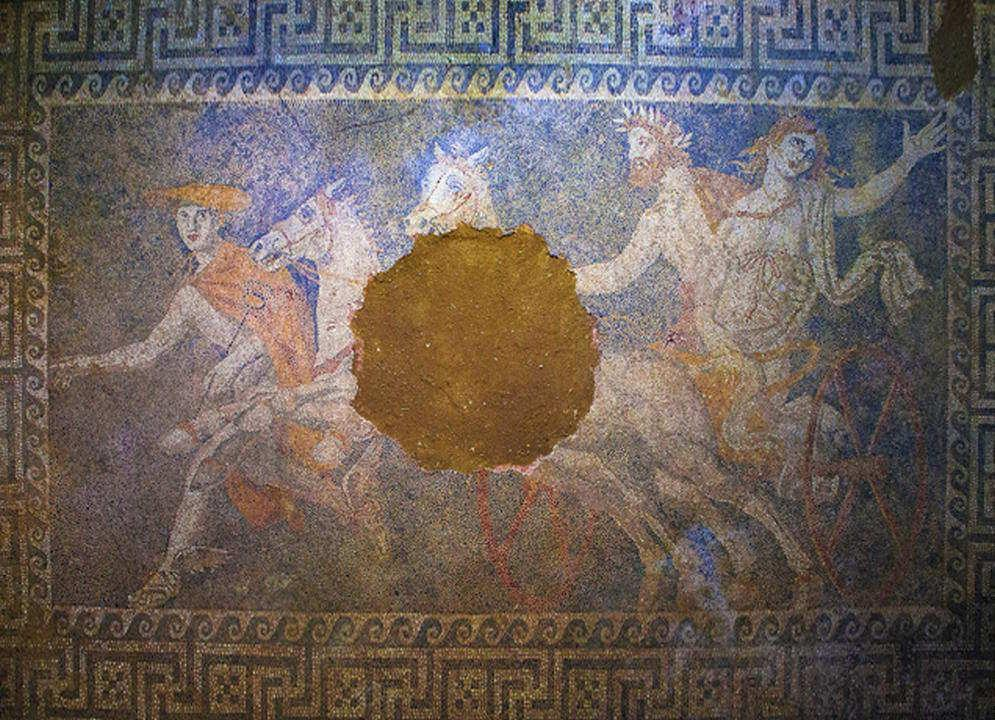 Interior of the tomb in Amphipolis, mosaic abduction Persephone