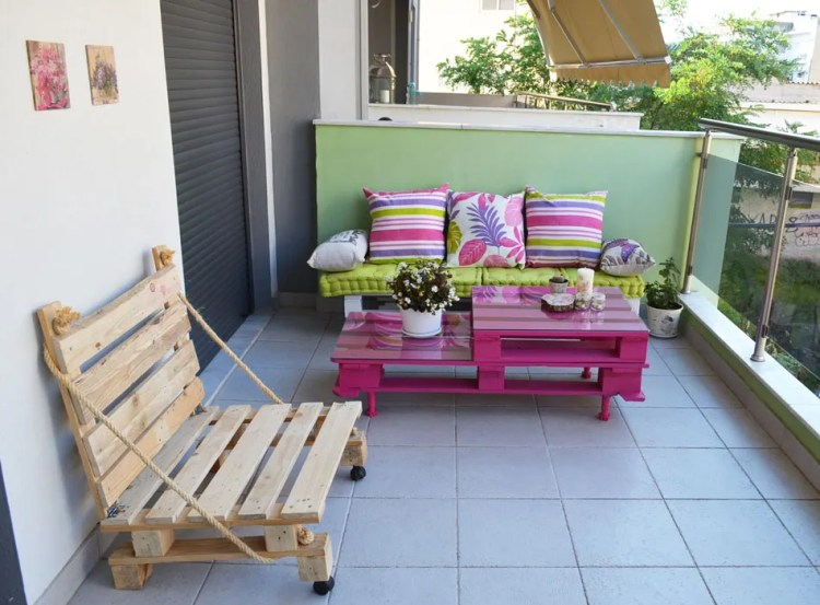 DIY colorful furniture for the balcony