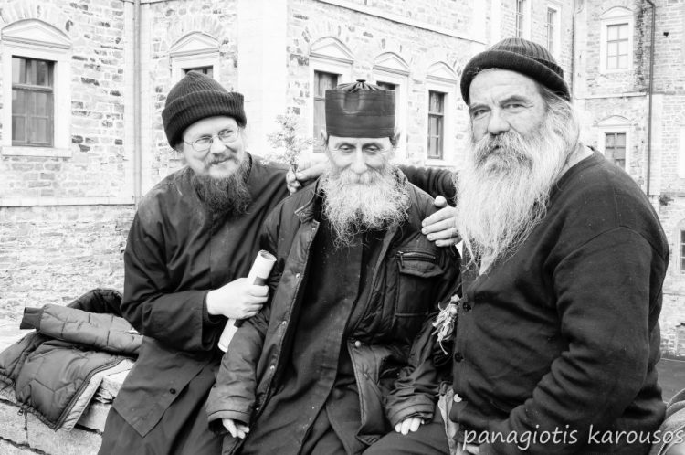 Monks at the mount Athos monastery