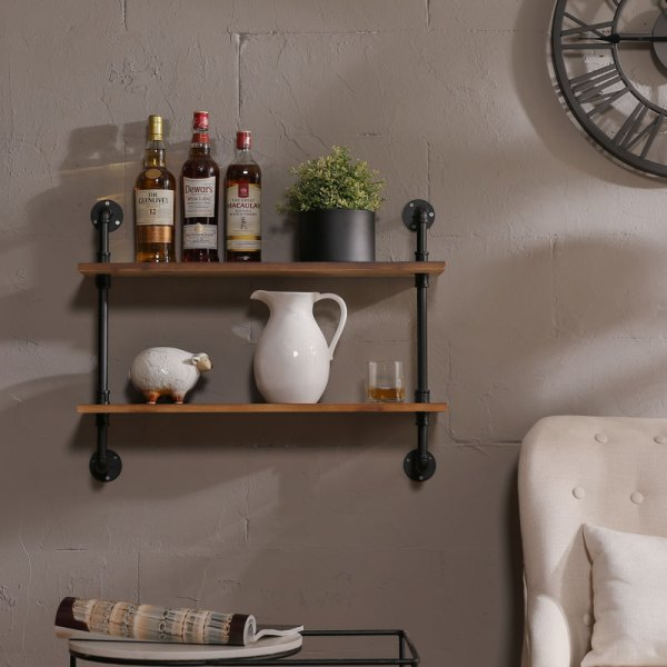 Two Tiers Wood Industrial Pipe Wall Shelves