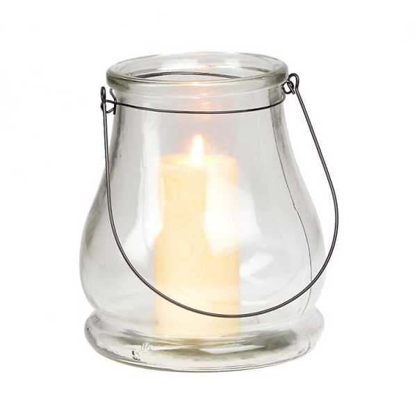 Candle Lanterns - Clear Glass Lantern, 11 in.