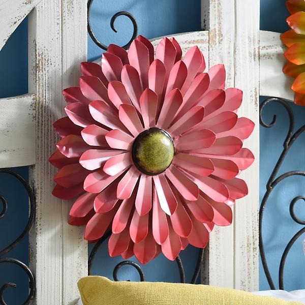 Outdoor Wall Decor - Pink Metal Flower Wall Décor