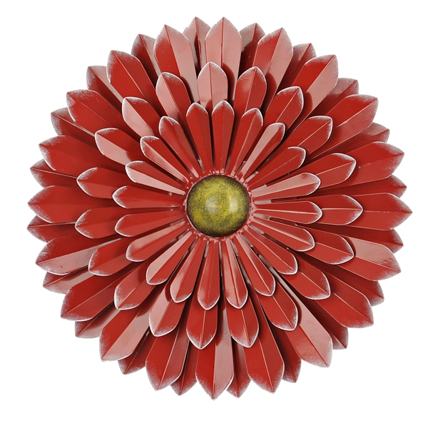 Outdoor Wall Decor - Red Metal Flower Wall Decor