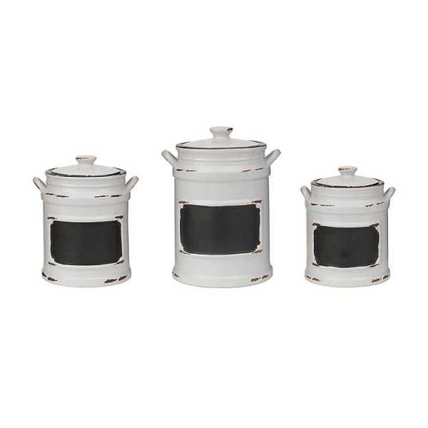 Kitchen Canisters - Vintage White Chalkboard Canisters