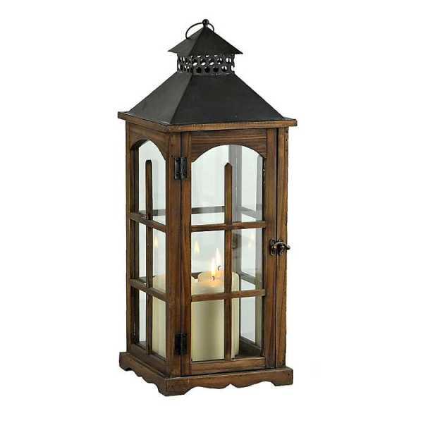 Candle Lanterns - Wood and Metal Cabin Lantern
