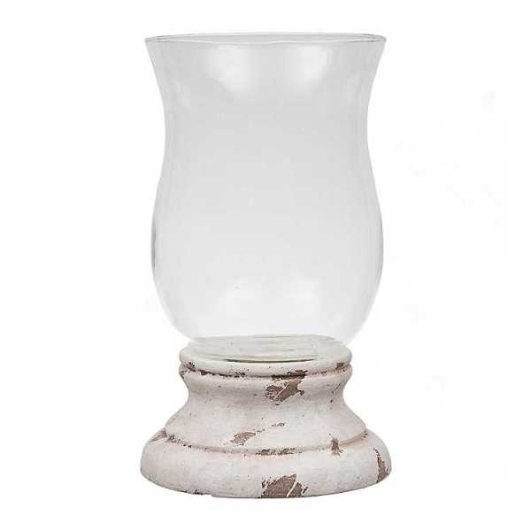 Candle Holders - Antique White Cement Hurricane