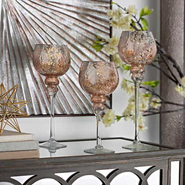 Candle Holders - Rose Gold Crackle Glass Charismas