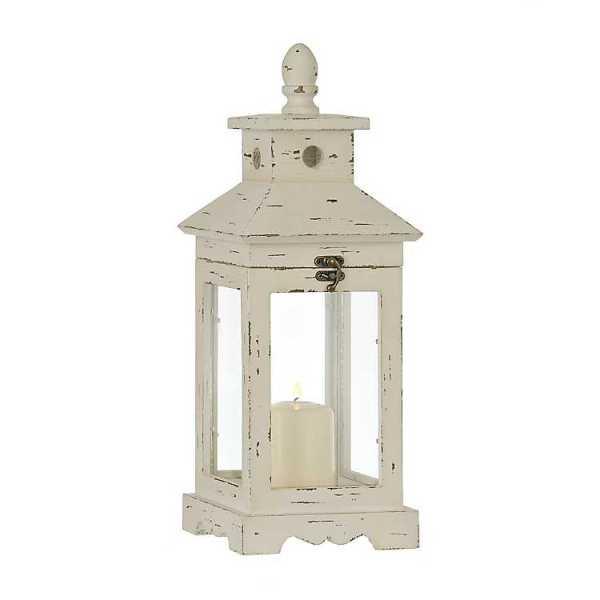 Candle Lanterns - Simple White Wood Lantern
