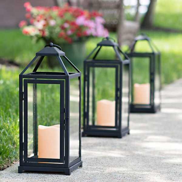 Candle Lanterns - Cutout Black Metal Lantern with LED Candle