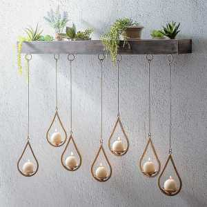 Wall Sconces - Wooden Ledge Hanging Teardrop Candle Holder