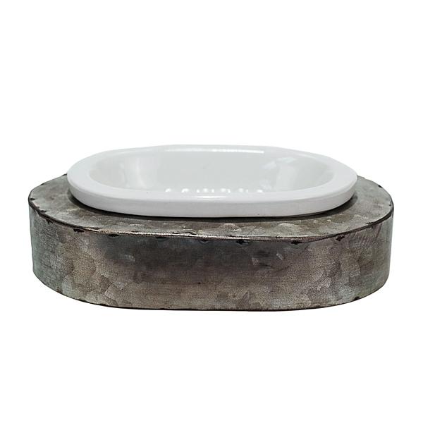 Bathroom Decor - Antique Metal and Ceramic Soap Dish