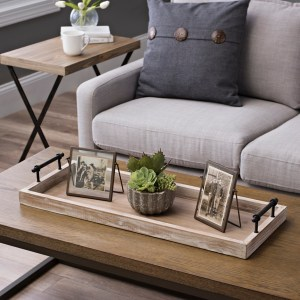 Decorative Trays - Wooden Decorative Tray With Metal Handles
