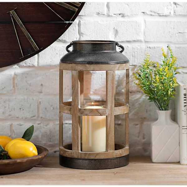 Candle Lanterns - Reese Round Wood and Metal Lantern
