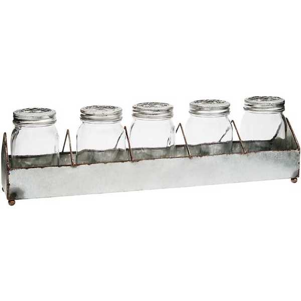 Candle Holders - Rustic Galvanized Mason Jar Candle Runner