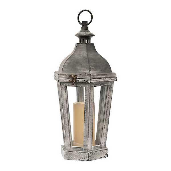 Candle Lanterns - Gray with Whitewash Lantern