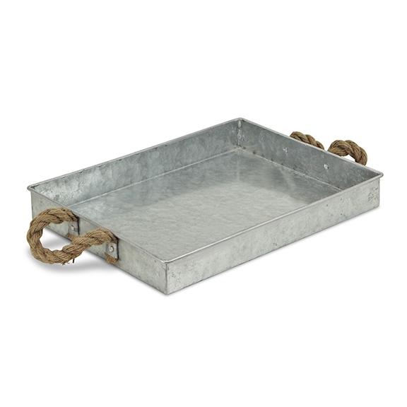 ecorative Trays - Galvanized Metal Rope Tray