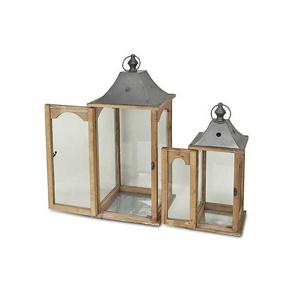 Candle Lanterns - Wood and Metal with Glass Panel Lanterns