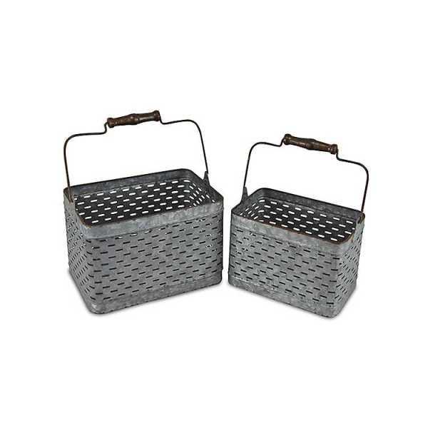 Baskets & Boxes - Galvanized Metal Storage Caddies