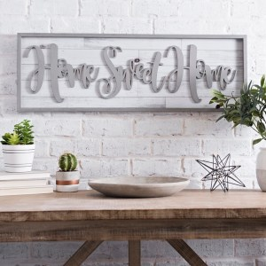 Home Sweet Home Framed Shiplap Wall Decor