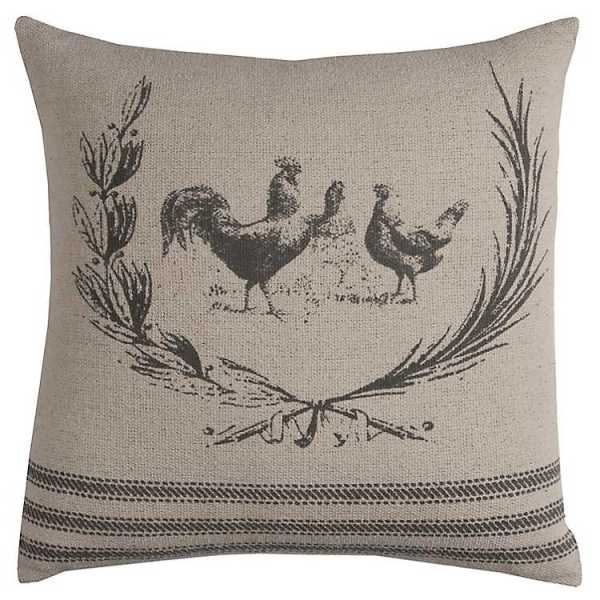Throw Pillows - Gray Rooster Cotton Pillow