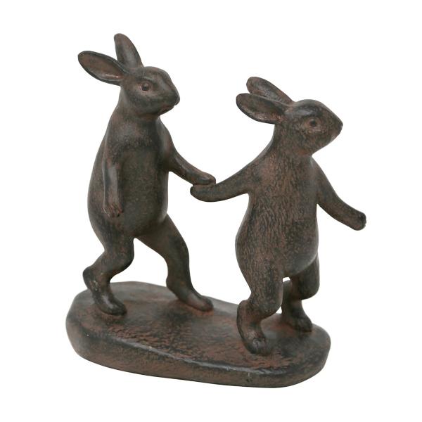 Statues & Figurines - Rustic Bunnies Holding Hands Shelf Figurine