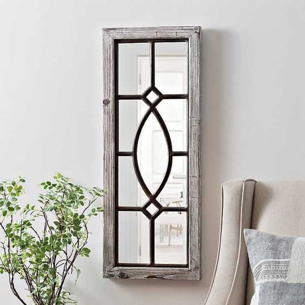 Wall Mirrors - White Distressed Panel Wall Mirror