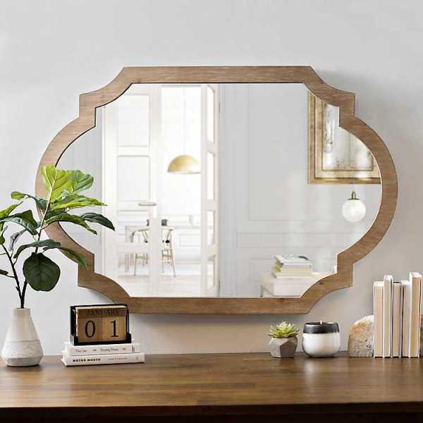 Wall Mirrors - Natural Wood Scalloped Mirror