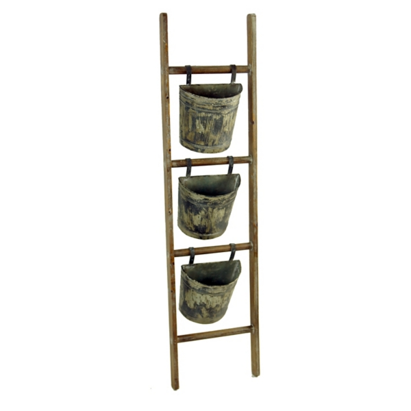 Garden Decor - Wood Ladder with Hanging Weathered Metal Planters