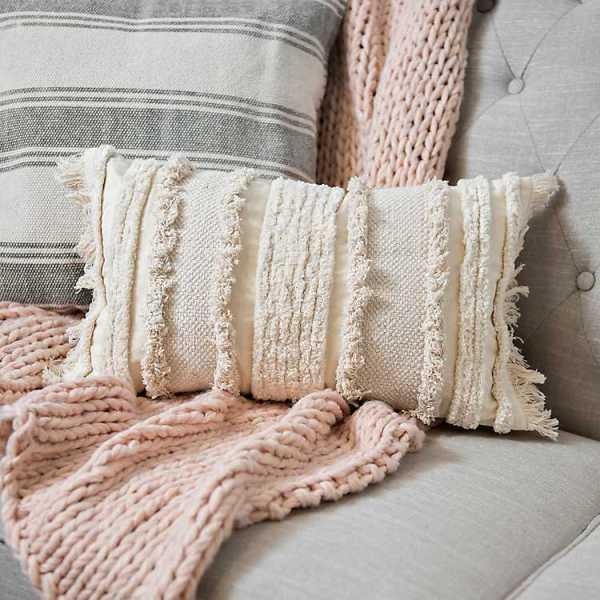 Throw Pillows - Ecru Fringe Cotton Accent Pillow