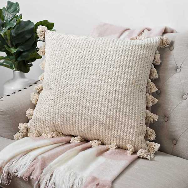 Throw Pillows - Woven Textured Pillow with Tassels