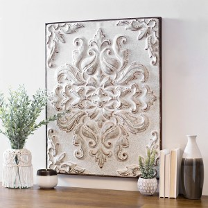 White Embossed Baroque Metal Wall Art