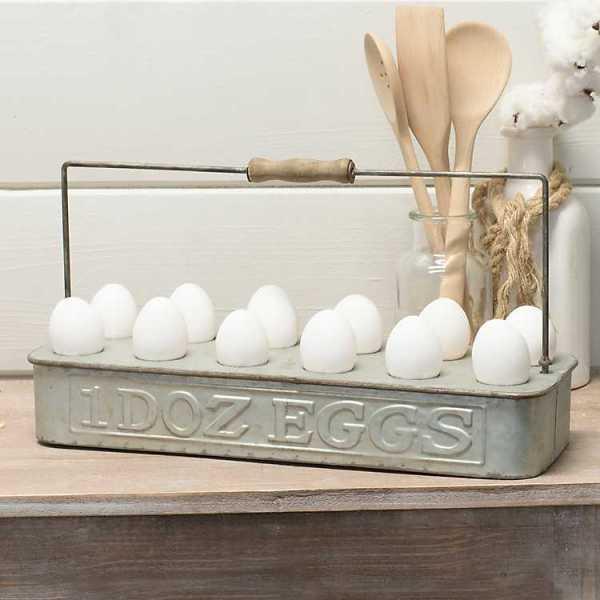 Kitchen Accessories - Galvanized Metal Egg Tray