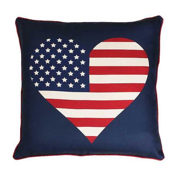 Throw Pillows - American Flag Heart Reversible Pillow