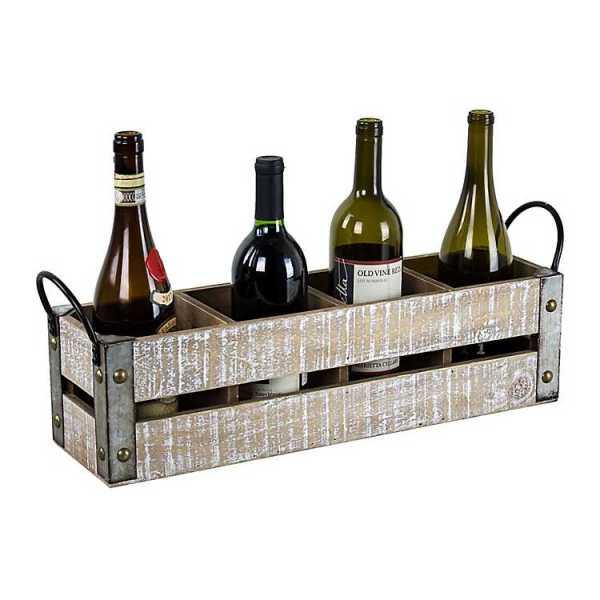 Baskets & Boxes - Whitewashed Wood Slat Wine Crate