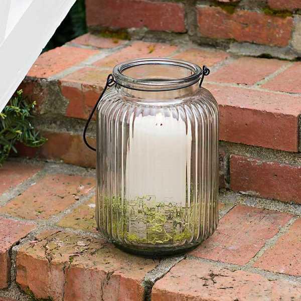 Candle Lanterns - Embossed Glass Lantern
