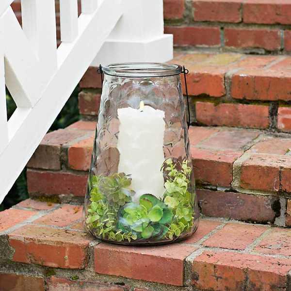 Candle Lanterns - Wavy Glass Lantern, 15 in.