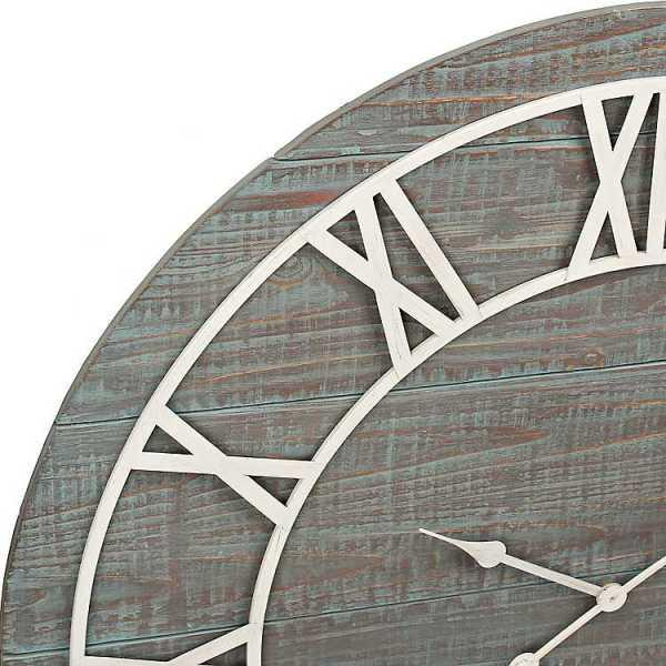 Wall Clock - Ava Vintage Blue Wood Wall Clock