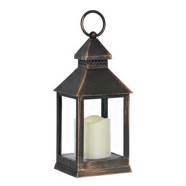 Candle Lanterns - Bronze Lantern with LED Candle