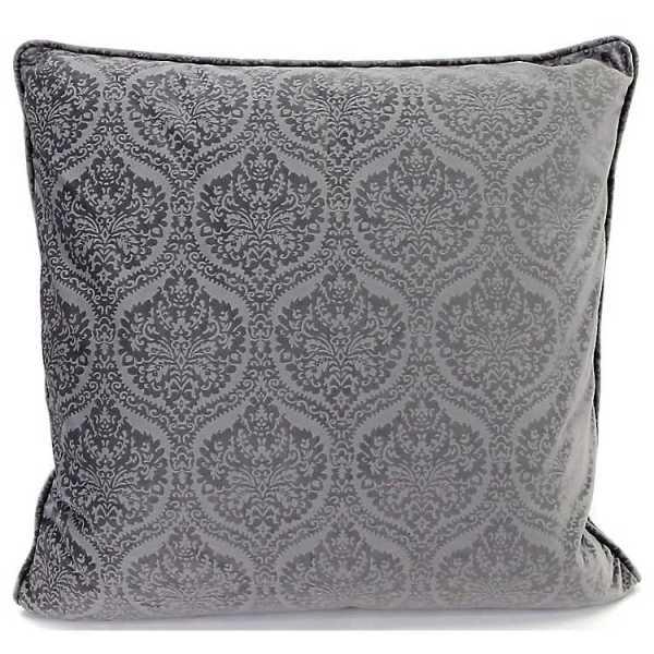 Throw Pillows - Gray Velvet Damask Pillow