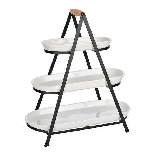 Serving Trays - Black and White 3-Tier Serving Tray Stand