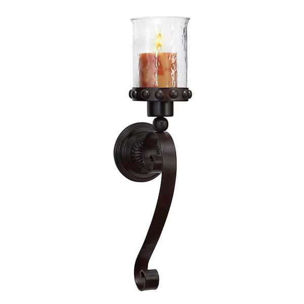 Wall Sconces - Scrolled Wrought Iron and Glass Hurricane Sconce