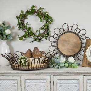 Decorative Trays - Metal with Wood Base Round Trays