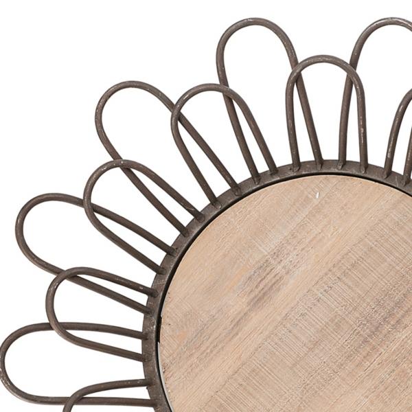 Decorative Trays - Metal with Wood Base Round Trays