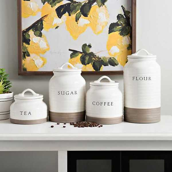 Kitchen Canisters - Two-Tone Modern Farmhouse Canisters