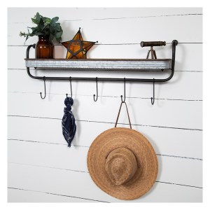 Rustic Galvanized Metal Wall Shelf with Hooks