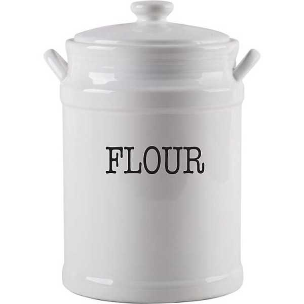 Kitchen Canisters - White Flour Pail Canister